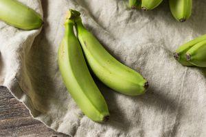 Green bananas on a cloth