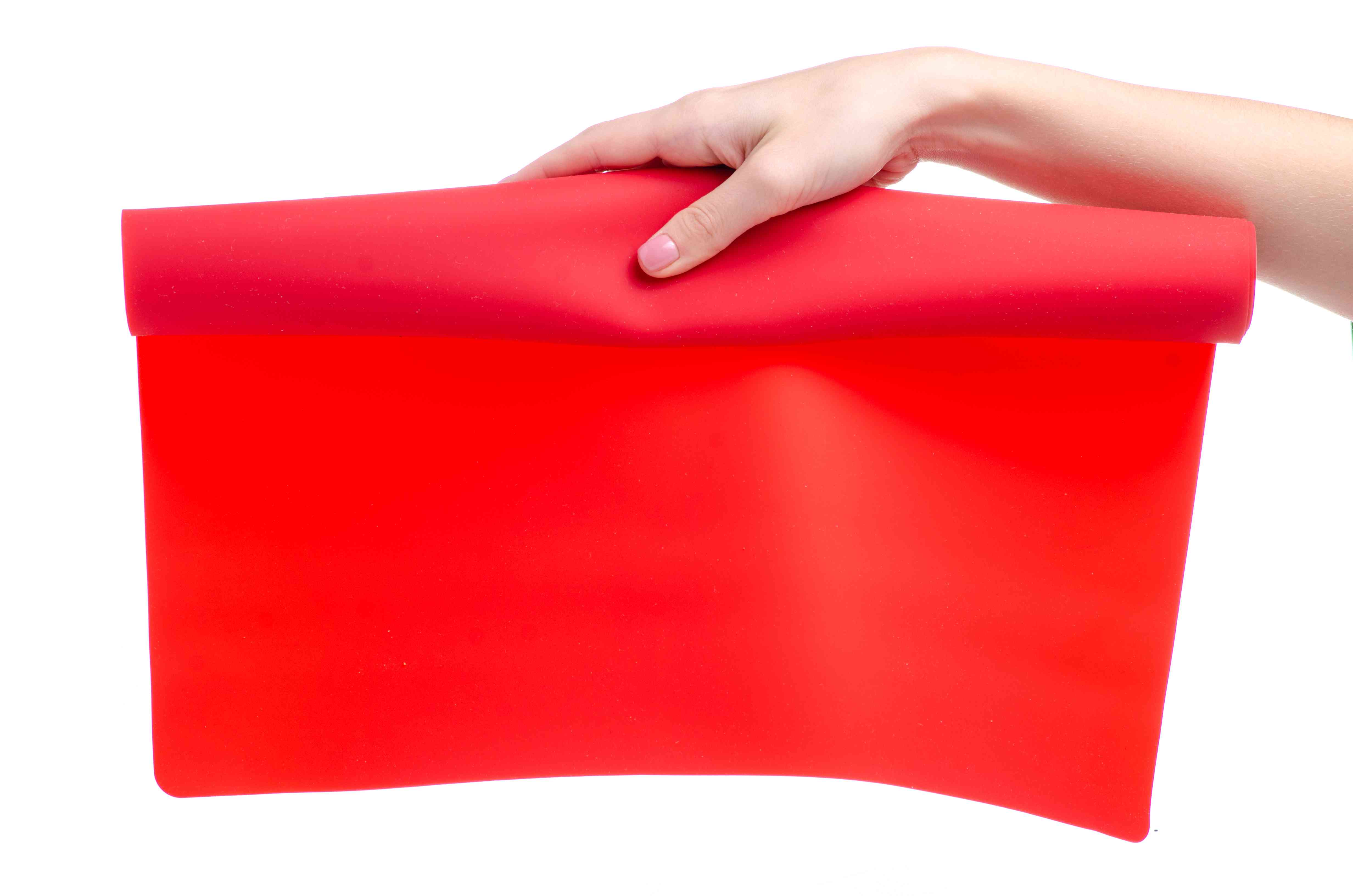 Silicone baking mat in hand