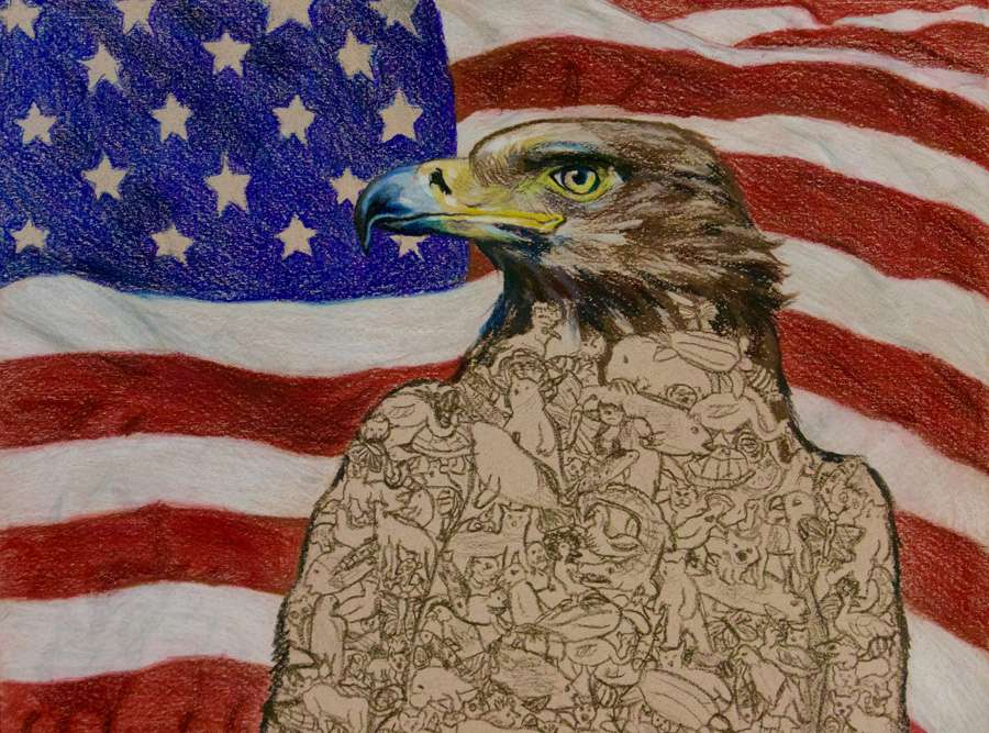 A colored-pencil drawing of a bald eagle in front of the American flag