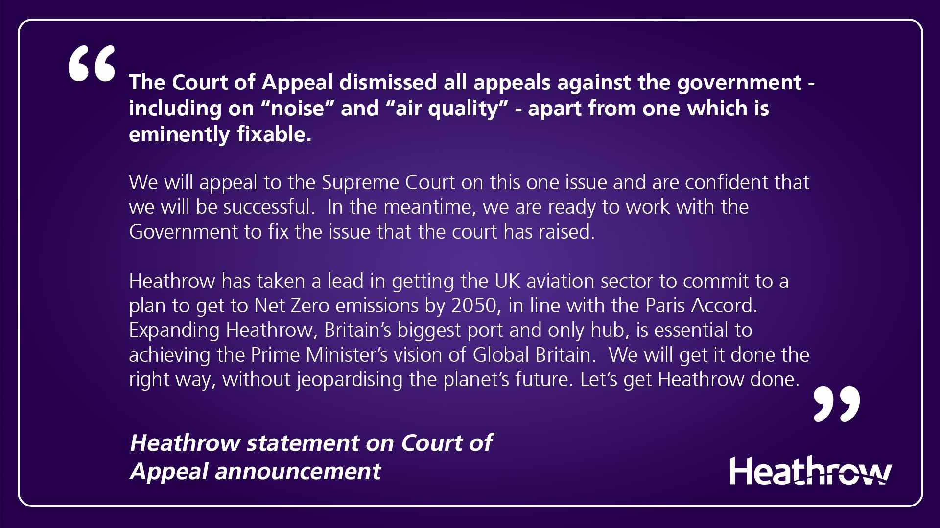 Heathrow Statement on airport