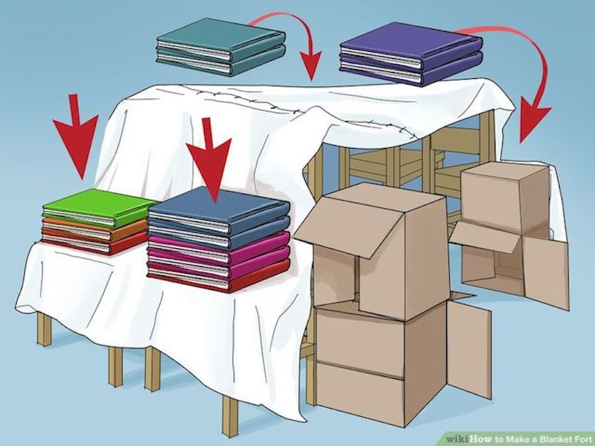 Illustration showing how to use books to hold blankets down