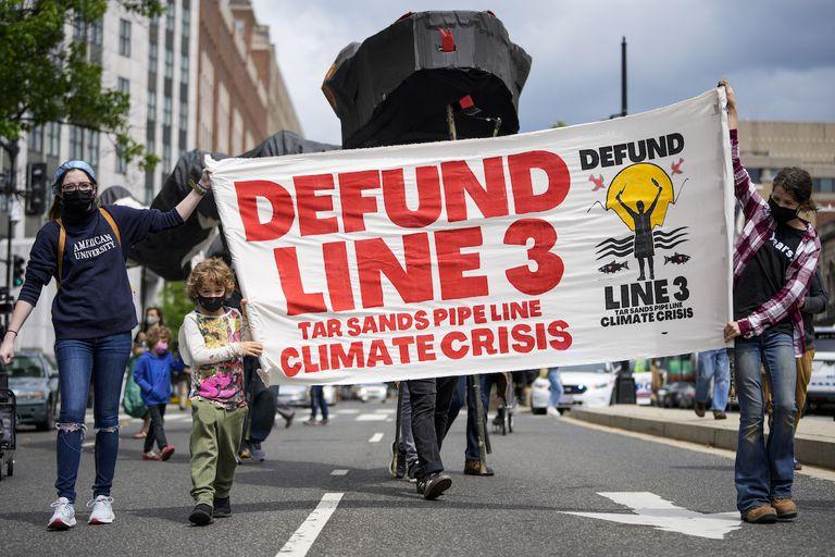Environmental activists protest against the Enbridge Line 3 oil pipeline