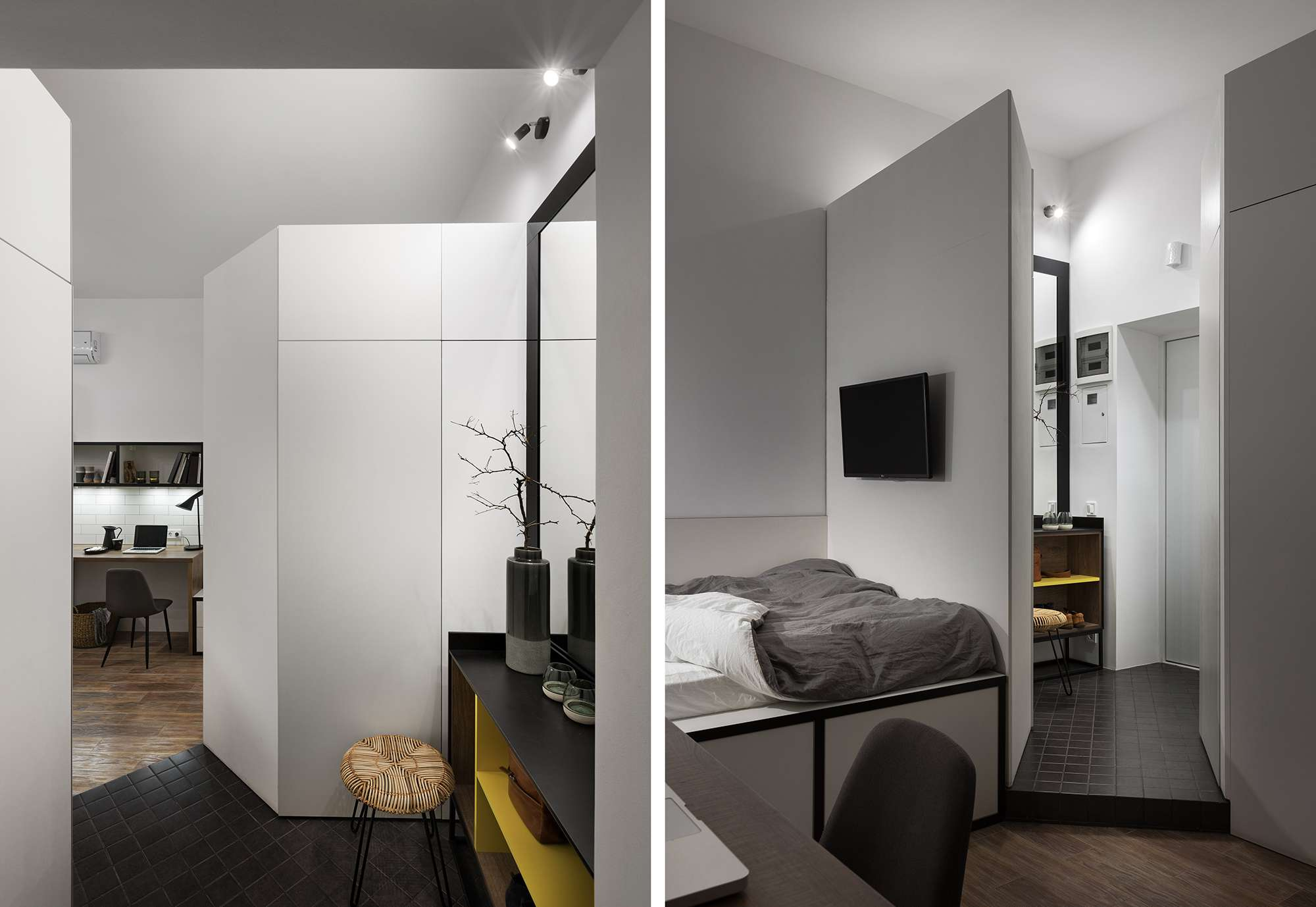 Odessa micro-apartment renovation Fateeva Design entry hall