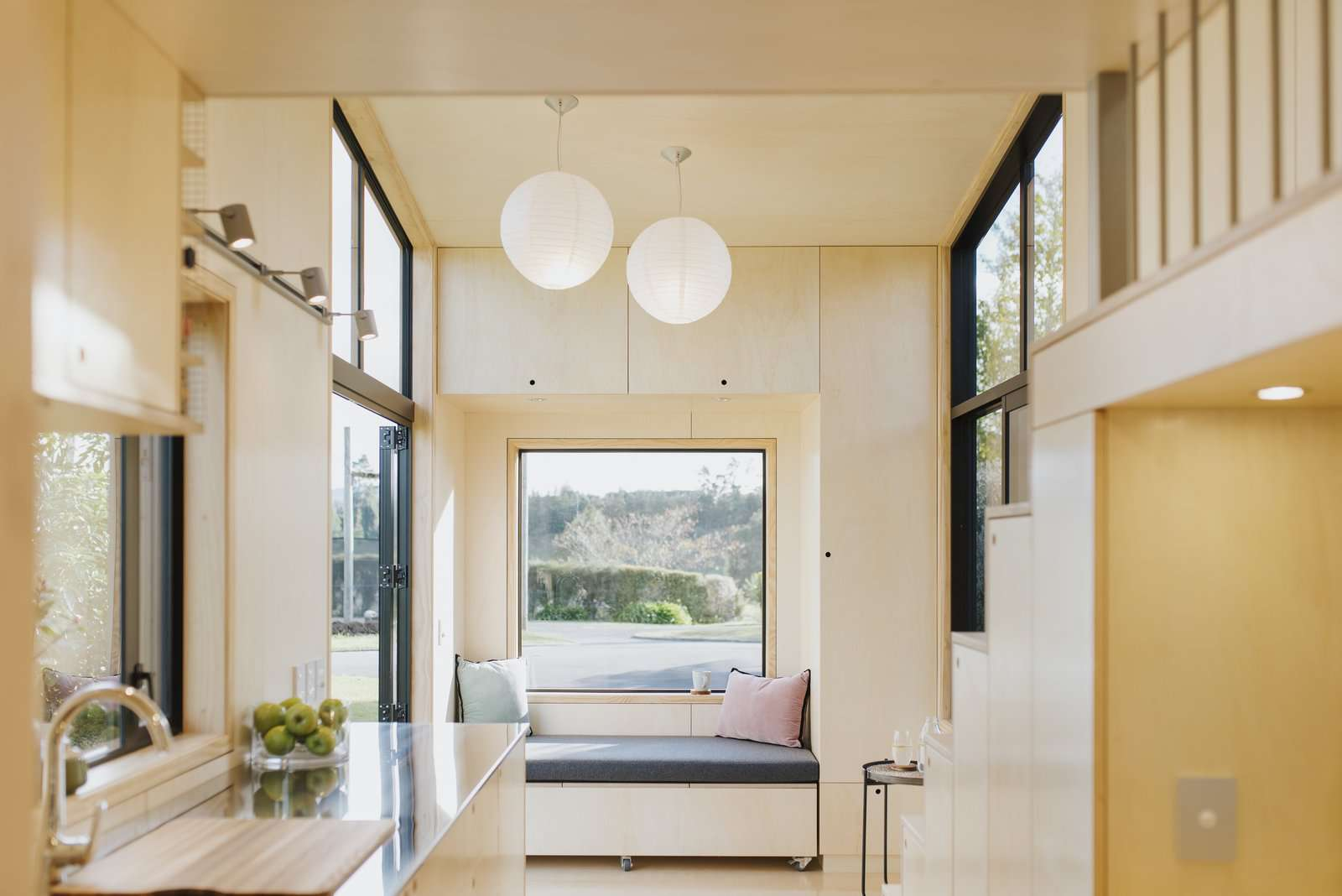 Ohariu tiny house by First Light Studio and Build Tiny living room