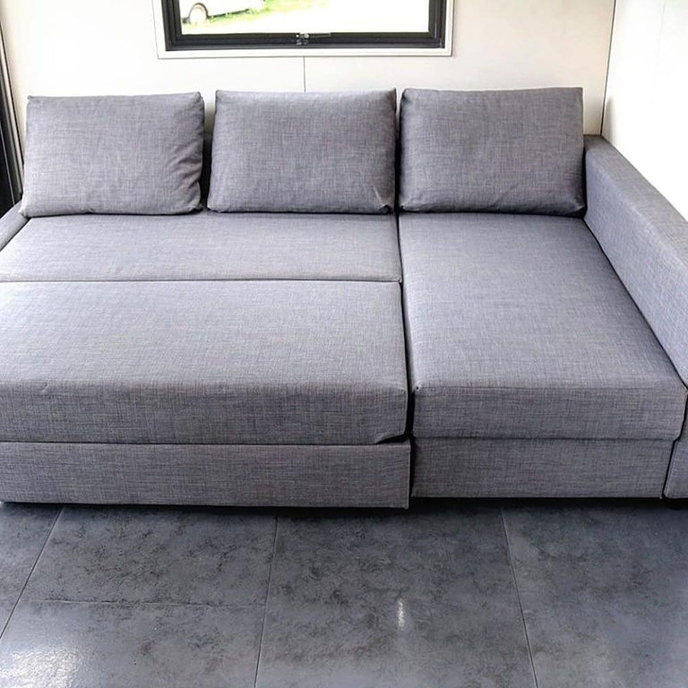 Close-up of convertible sofa bed