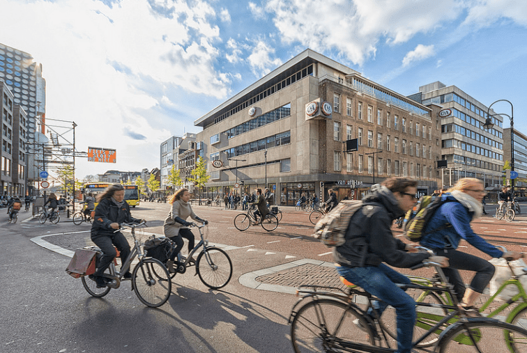 Cyclists in the Dutch city of Utrecht