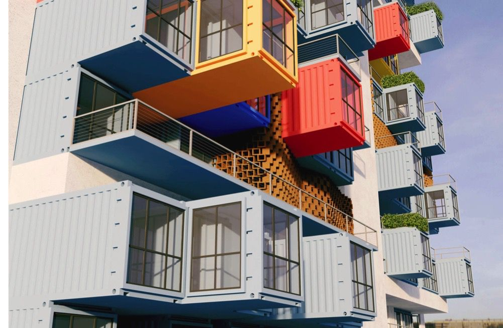 Storage containers in various colors stacked in a staggered pattern