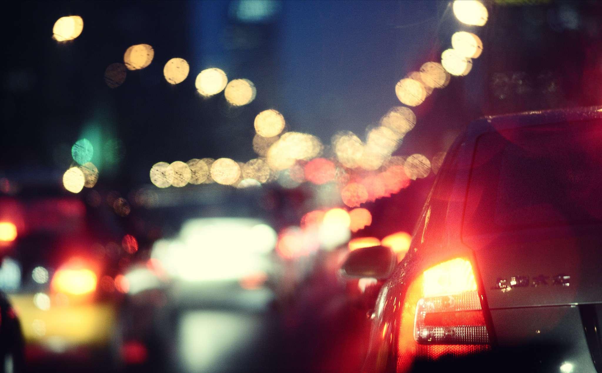 Car at night traffic
