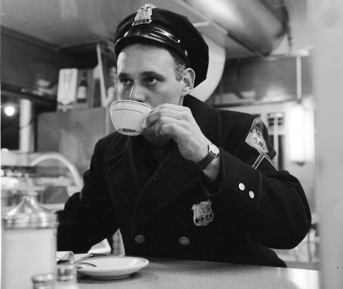 drinking coffee circa 1955