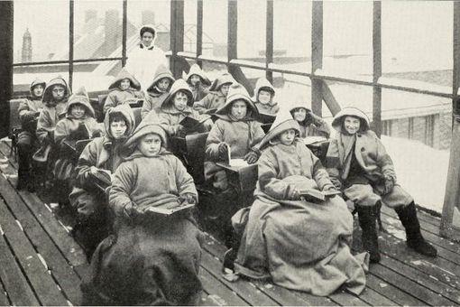 Children in an open classroom