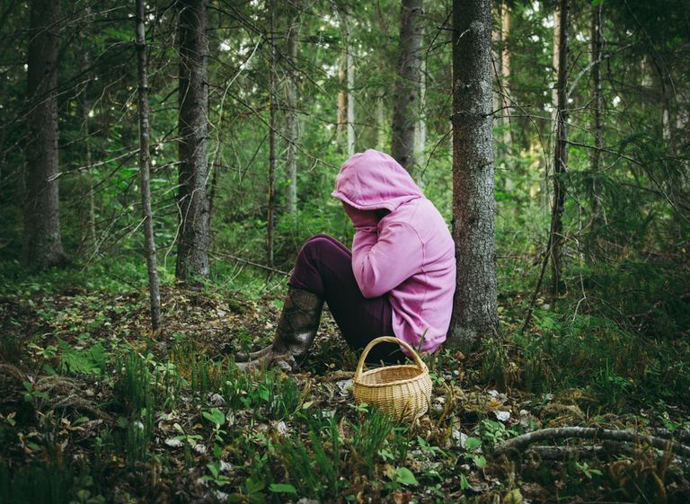A person in a pink hoodie sitting in the forrest