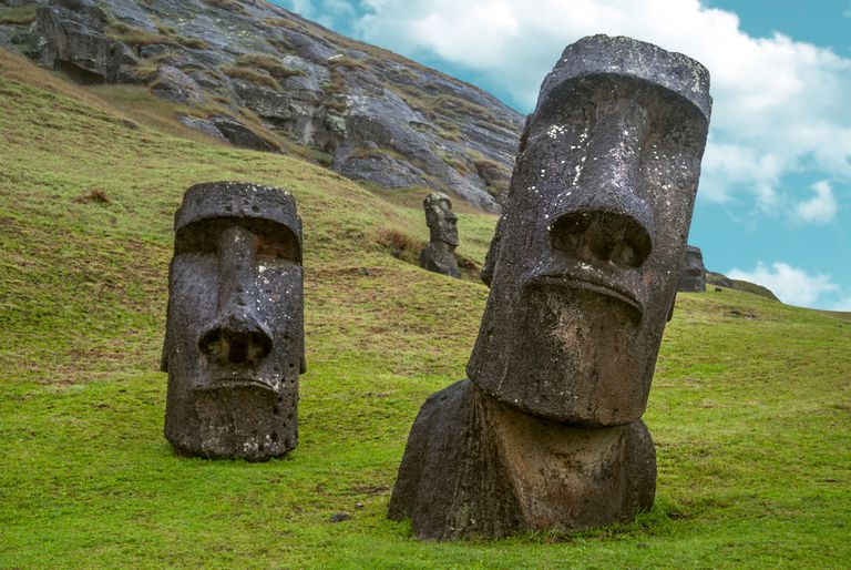 Large carved stone heads on Easter Island