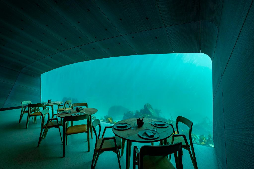 inside dining room at Under, a proposed underwater restaurant on the southern Norway coast