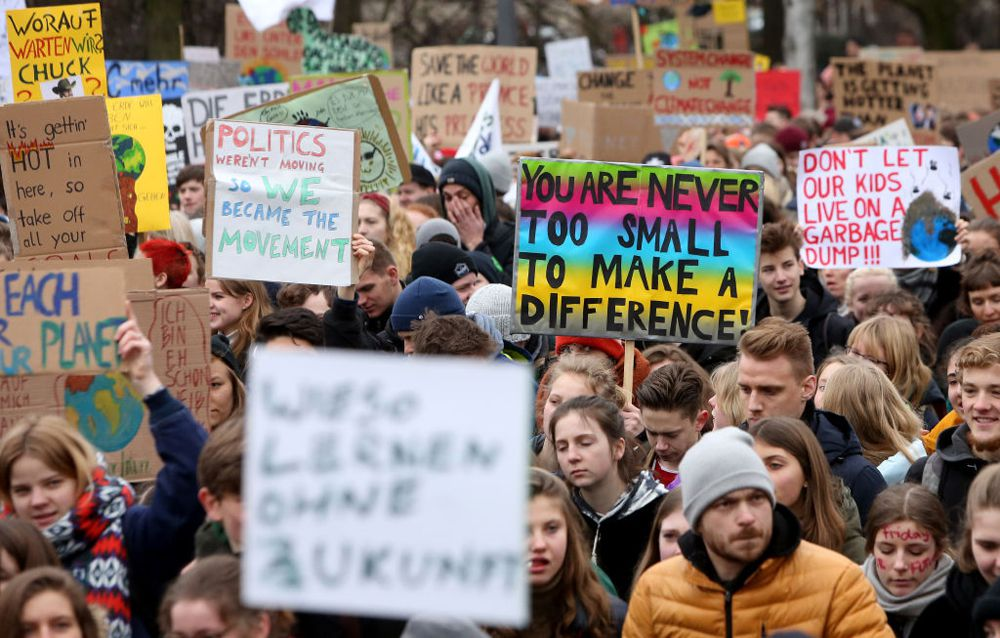 High school students demonstrate against global warming at a Fridays for Future demonstration on March 1, 2019 in Hamburg, Germany