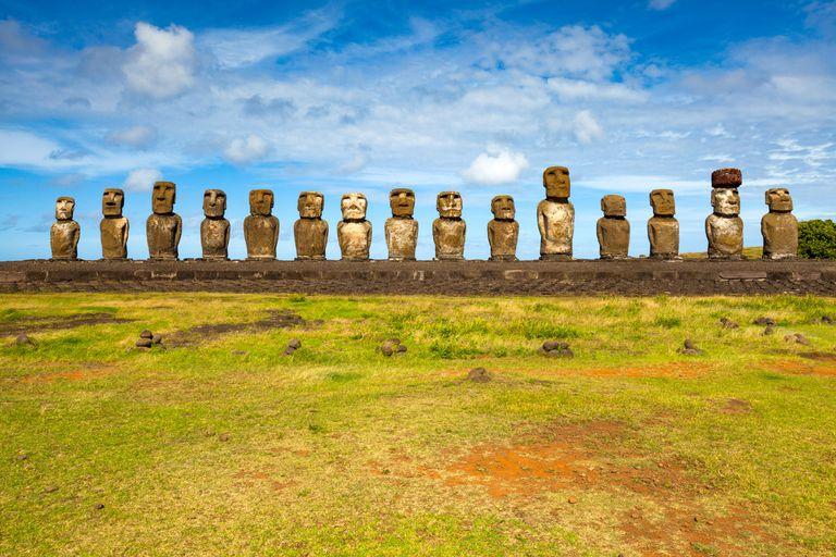 A line of giant stone statues (moai) on Easter Island