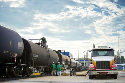 Workers Transferring Ethanol From Rail to Truck