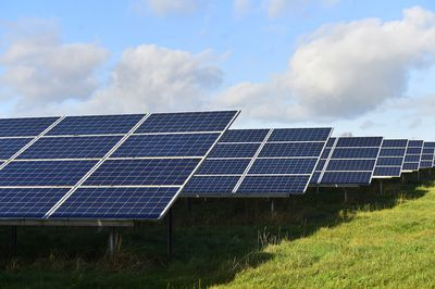 Photovoltaic panels are seen on November 22, 2020 in Stoke-on-Trent, England.