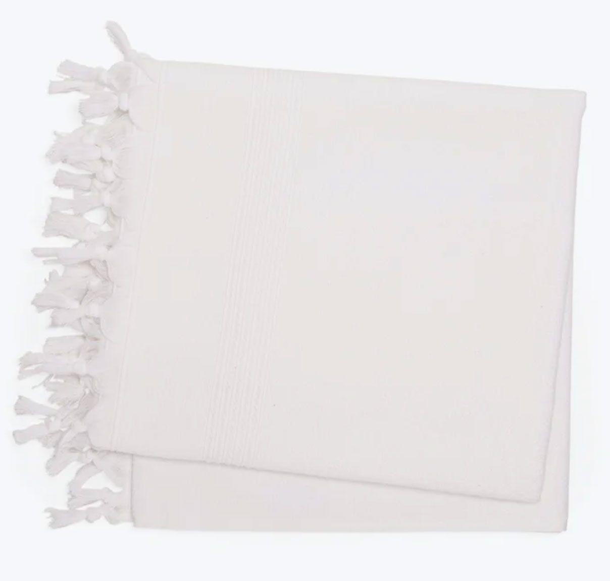 White Meyzer Turkish Tassel Bath Towel