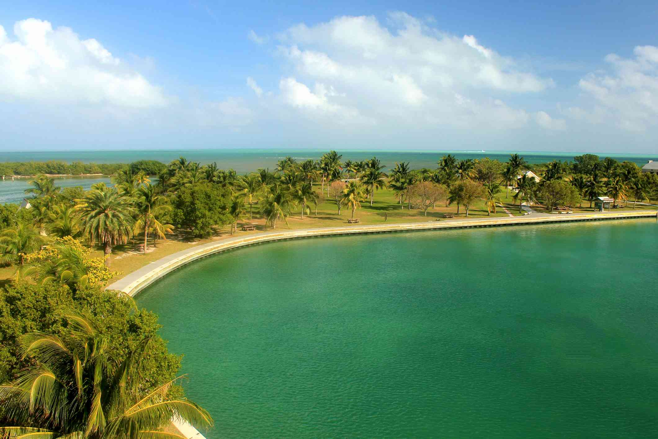 shoreline at Biscayne National Park with water on both sides of a narrow strip of land covered with palm trees