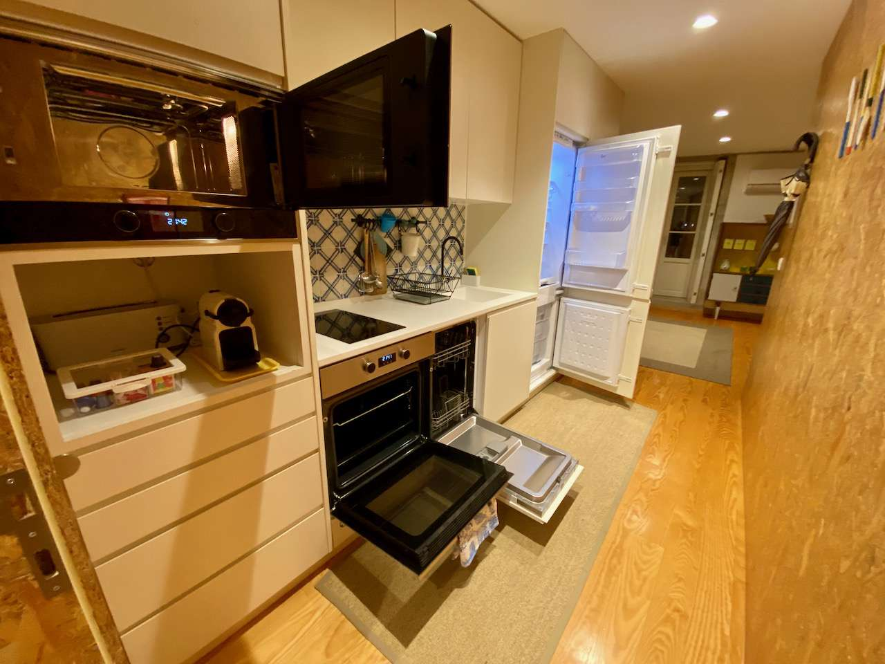 kitchen with everything open