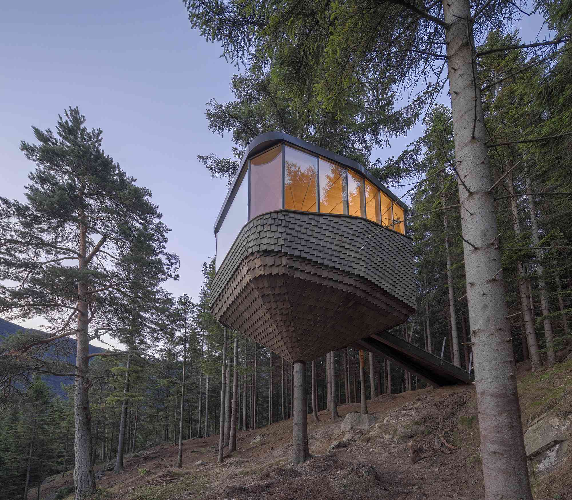Woodnest treehouse cabin by Helen & Hard Architects exterior