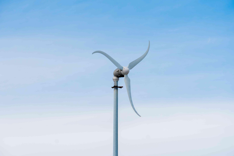 long shot of wind turbine