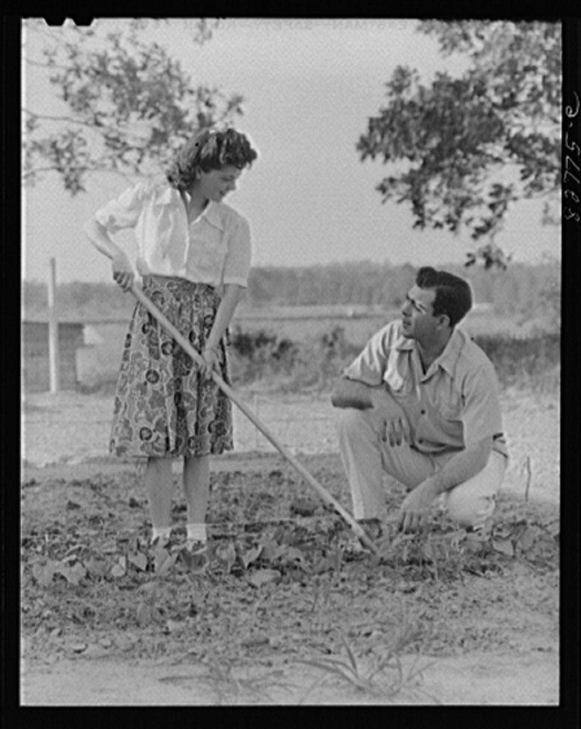 Couple working in their garden