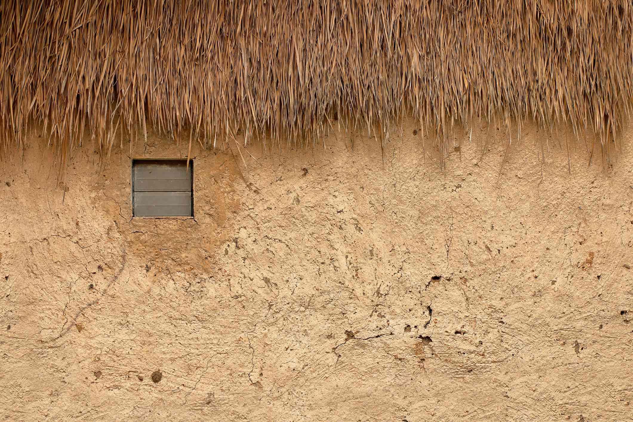 A cob wall up close.