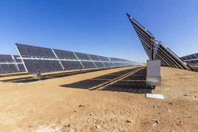 Bifacial solar panels in the Atacama Desert in Chile