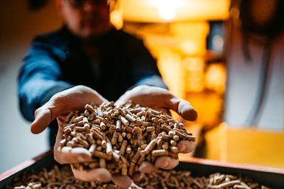 A man holding wood pellets.