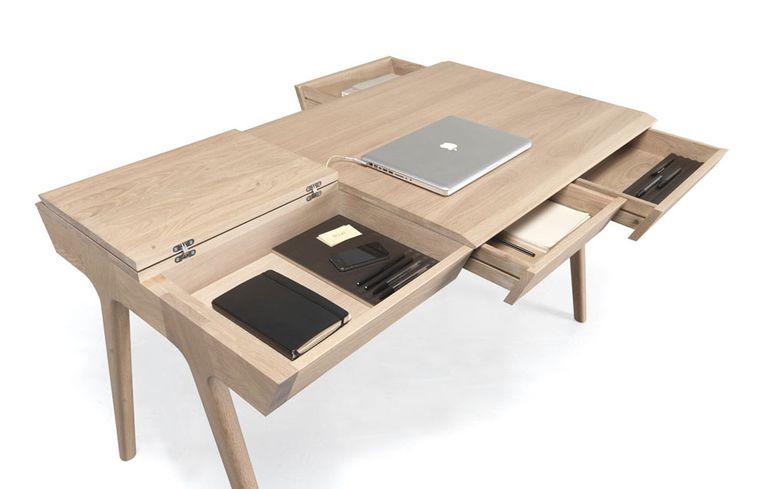 El escritorio Metis minimalista y ergonómicamente diseñado está lleno de almacenamiento oculto