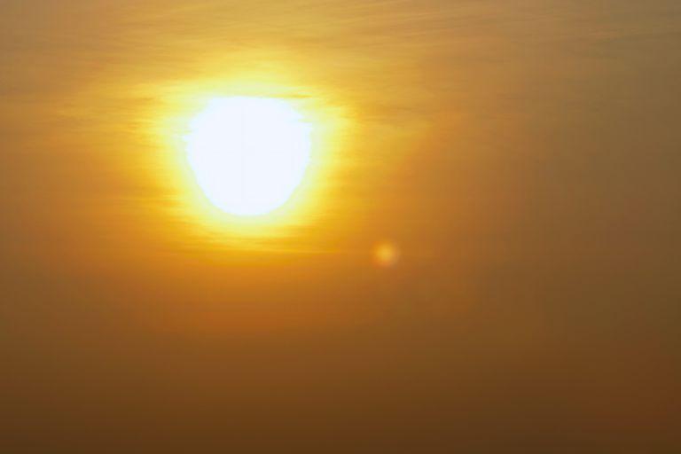 closeup hazy image of the sun
