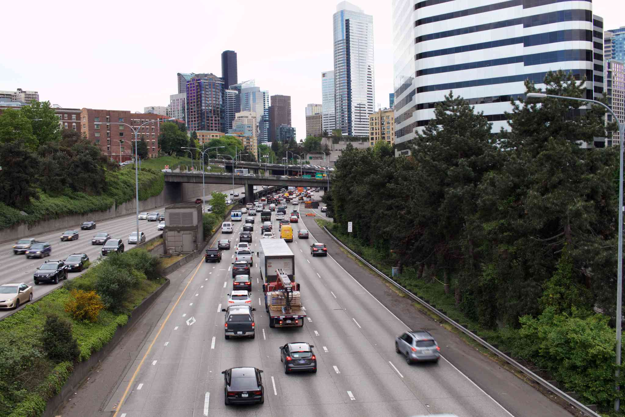 Vegetation lines Interstate 5 in downtown Seattle