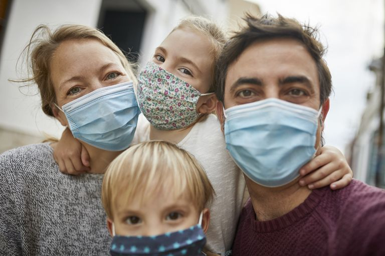 people in masks, family