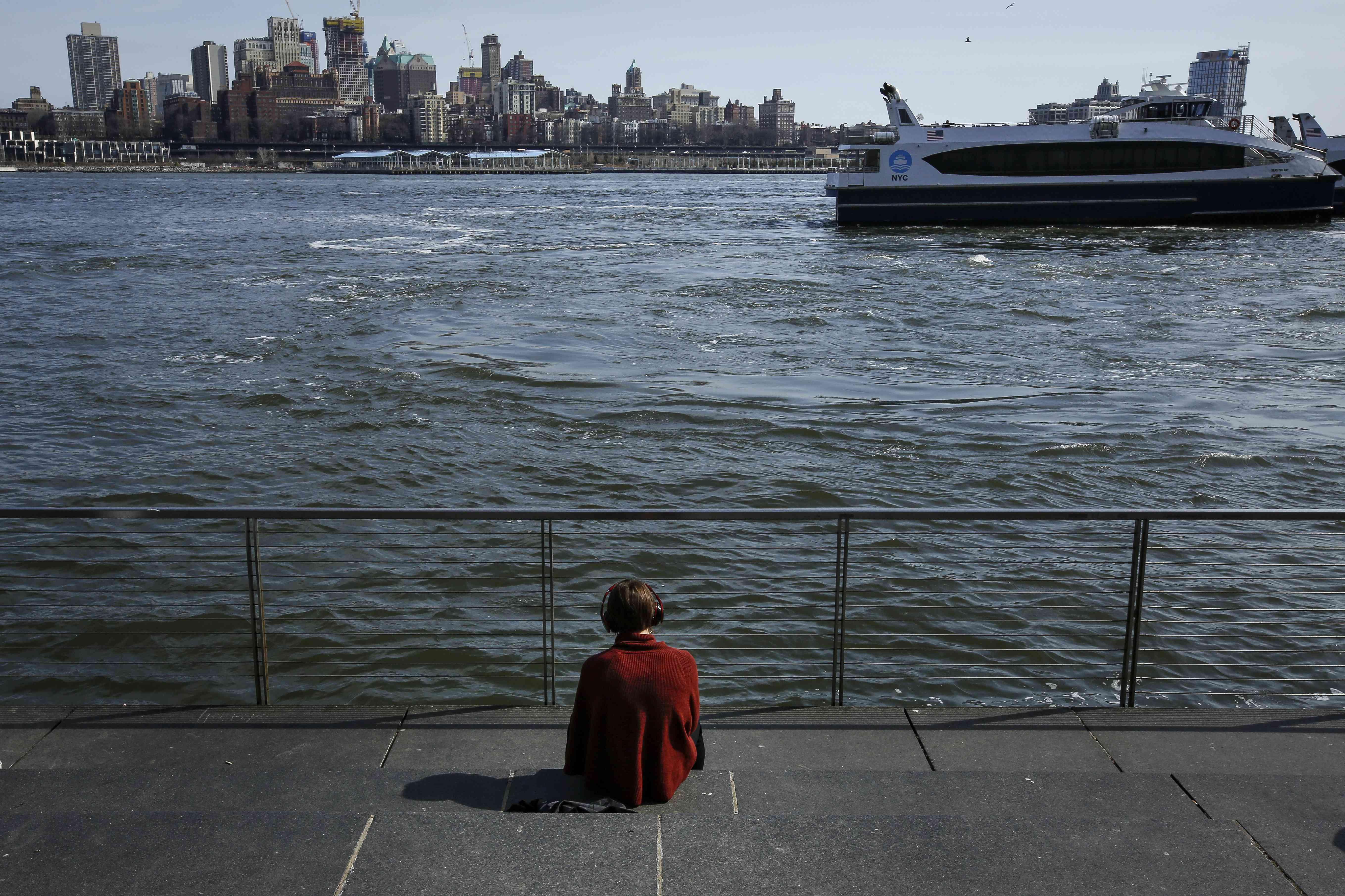 South Street Seaport looking towards Brooklyn Heights
