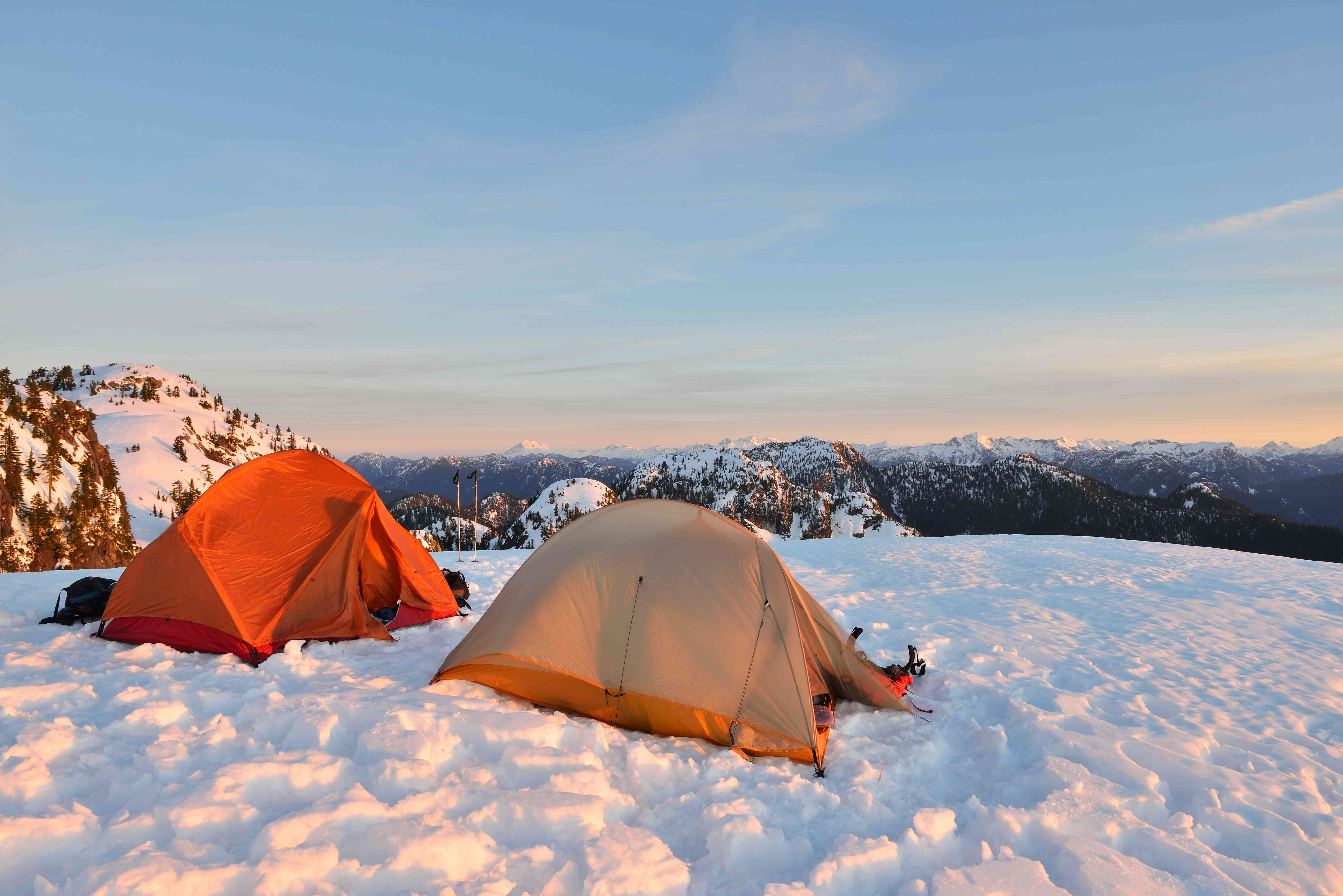 sunrise warms up tents at Mount Seymour, British Columbia, Canada