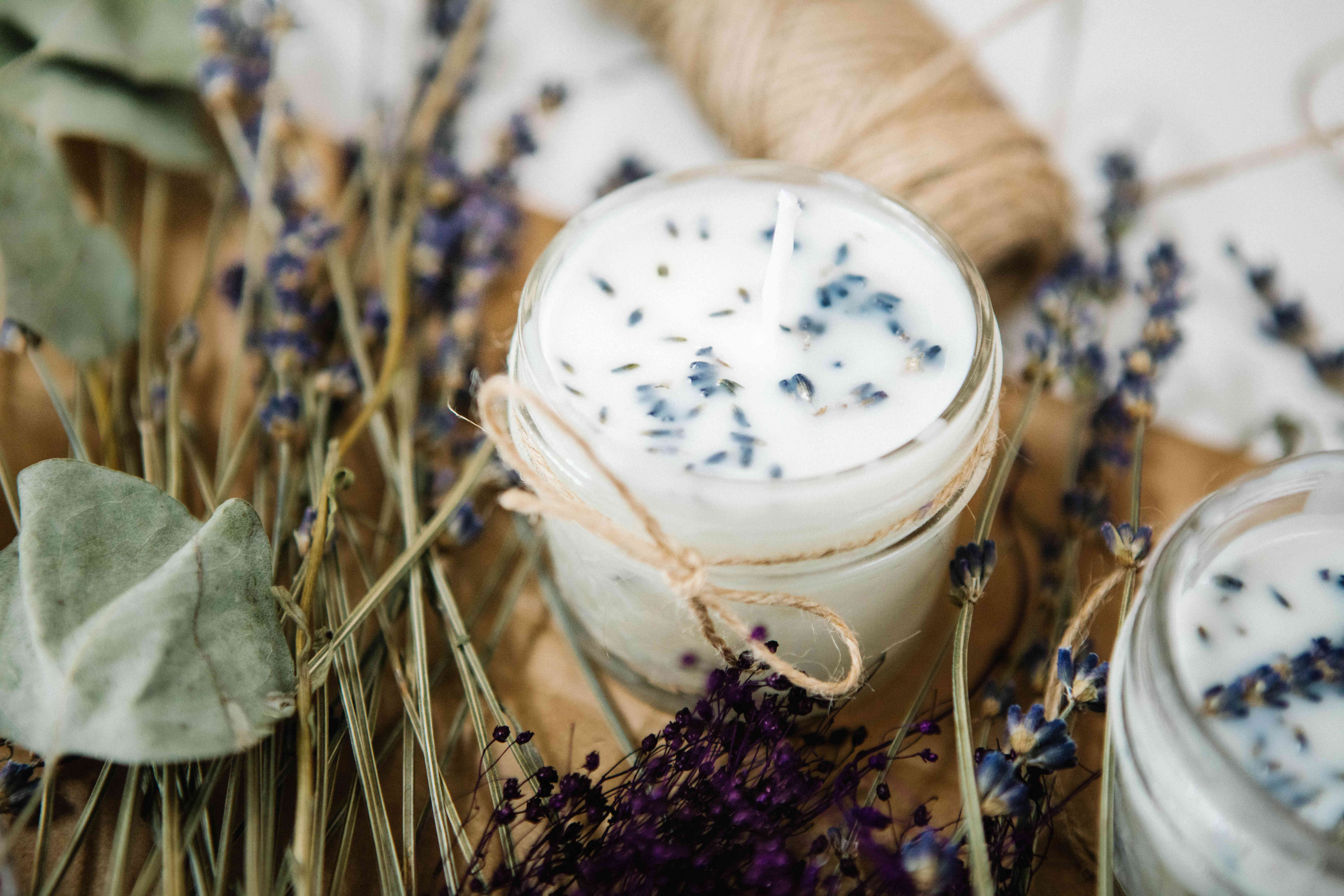 lavender candle with string bow