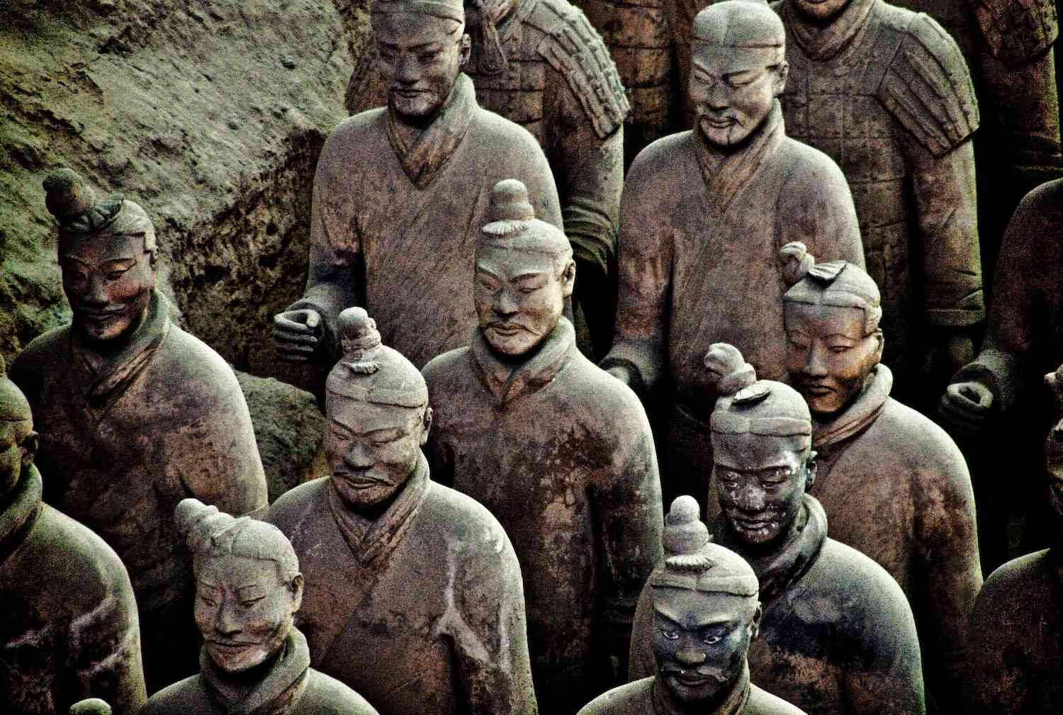 Terracotta soldiers lined up near the tomb of China's first emperor