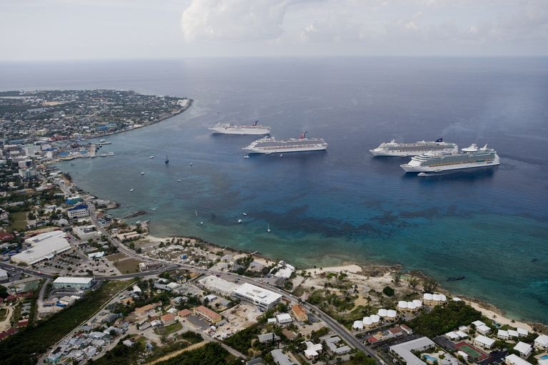 Four cruise ships anchored offshore of Georgetown Harbor, Grand Cayman