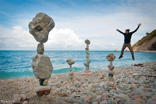 Balanced stones on a shoreline