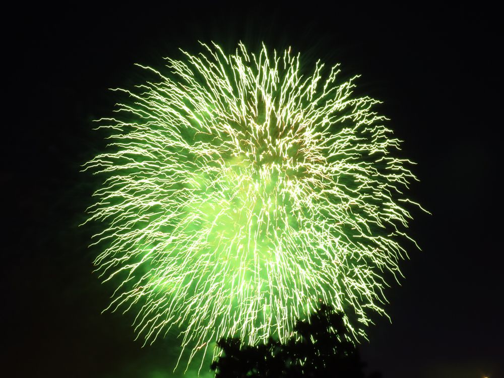 Green fireworks in the sky