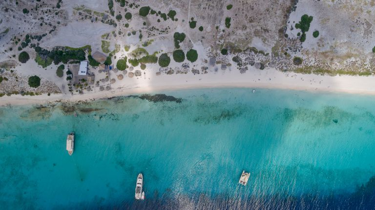 Beach and water aerial view