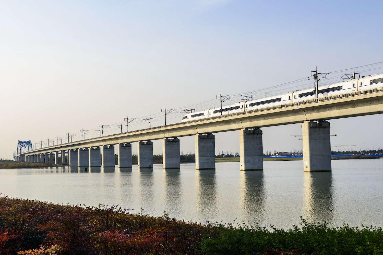 The Danyang-Kunshan Grand Bridge crosses the Yangcheng Lake in Suzhou, China
