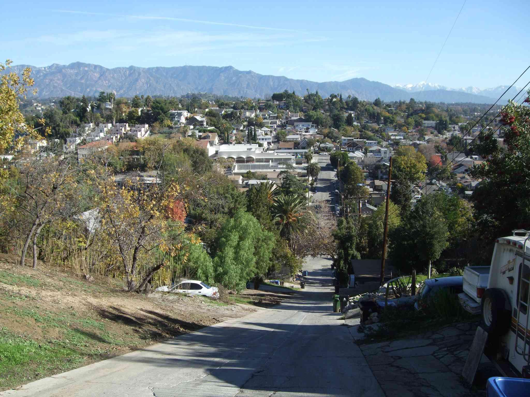 View looking down on Eldred Street, the steepest street in Los Angelos.