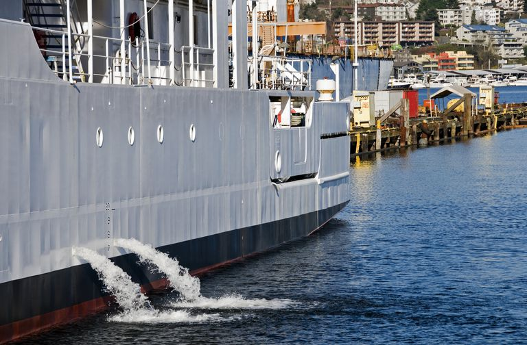 A vessel discharging ballast water into a freshwater lake