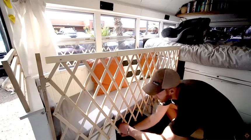 Baby gate across sitting area