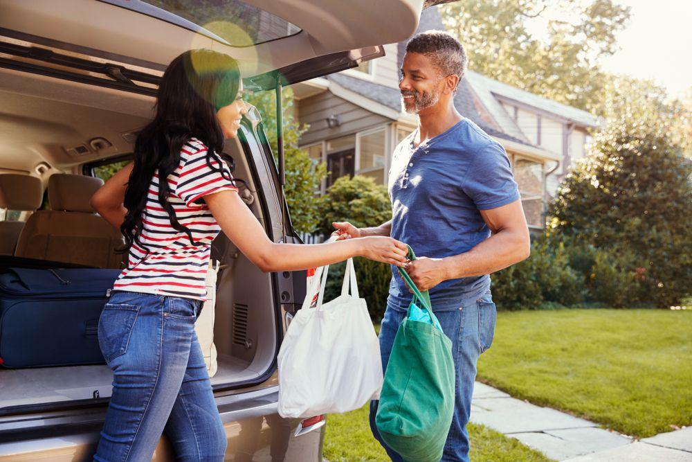 unloading groceries, car