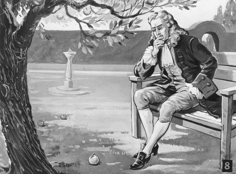 Illustration of Sir Isaac Newton contemplating a fallen apple