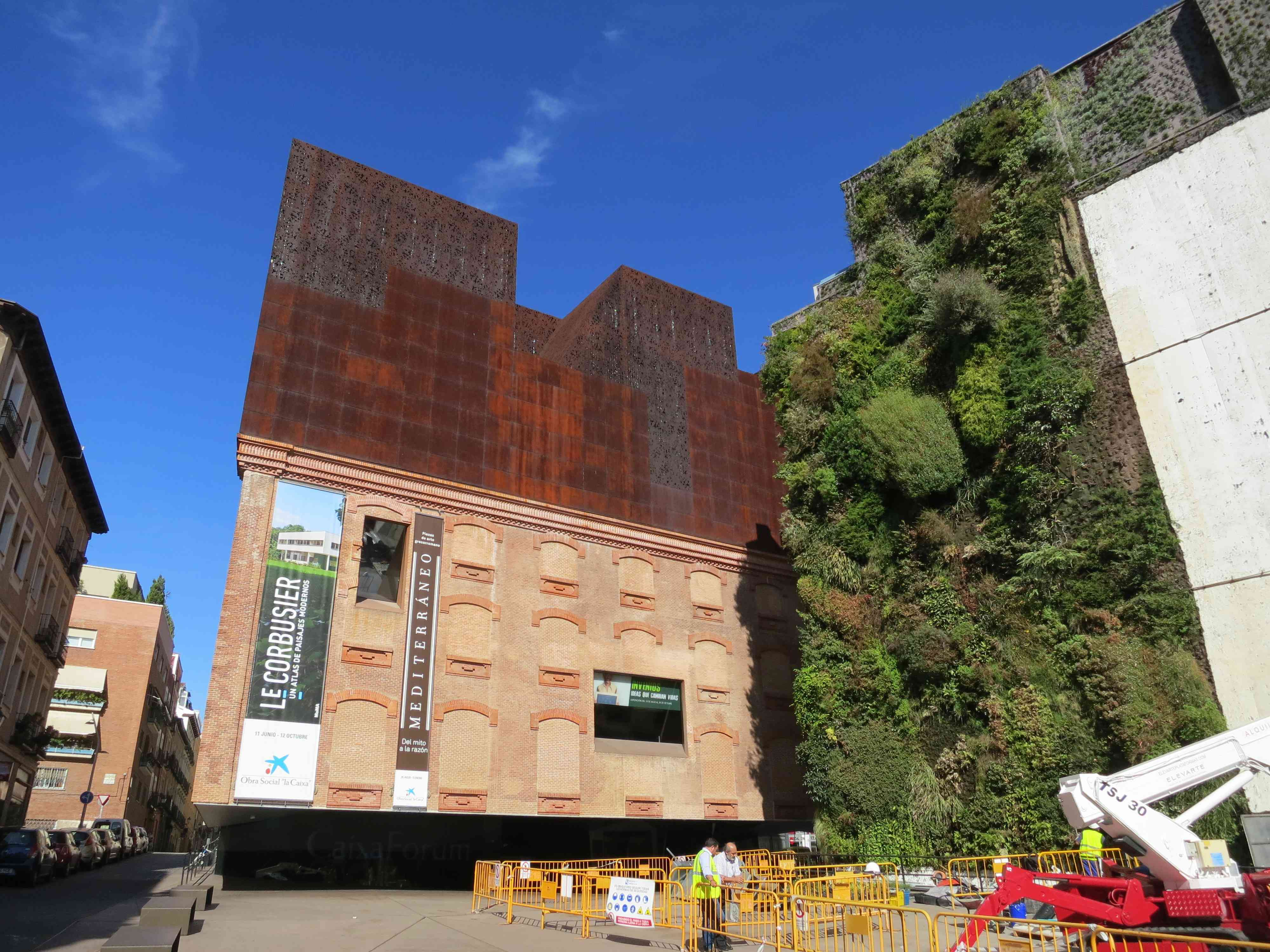 Caixa Forum Museum's green plant wall in Madrid Spain.