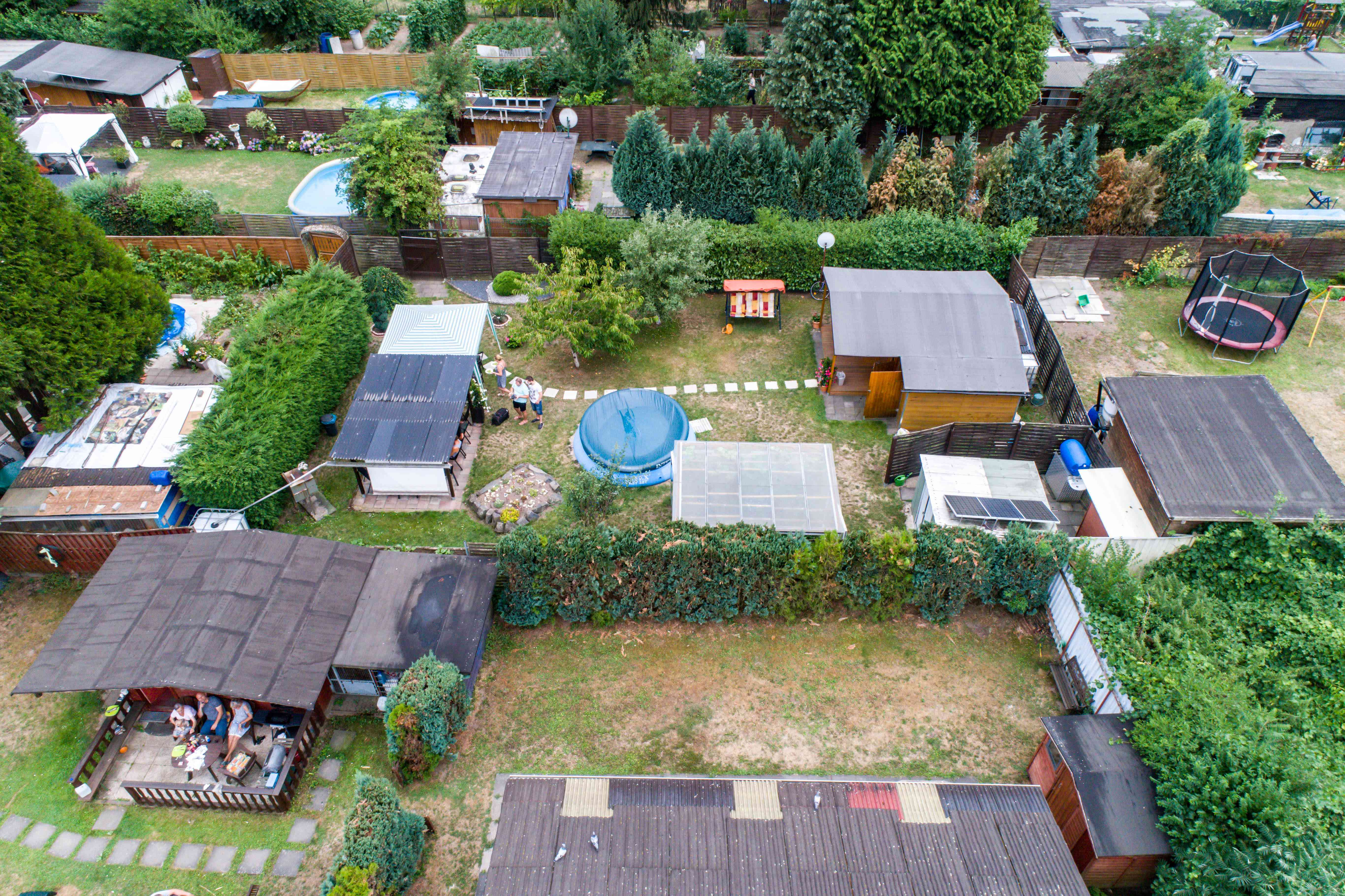A drone captures a garden colony in Koblenz, Germany